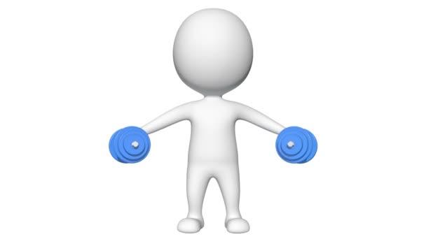 3D muž zvedání rukou činky animace