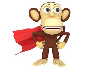 3d superhero monkey with arms akimbo