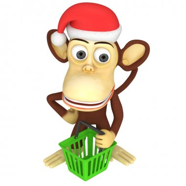 3d funny monkey santa claus