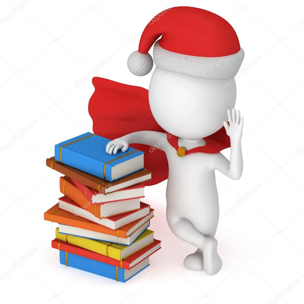 3d santa claus stand near pile of books