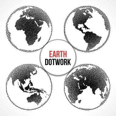Set of Earth Planet Globe. Vector Dotwork