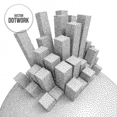 Wireframe Mesh Dotwork Vector Boxes