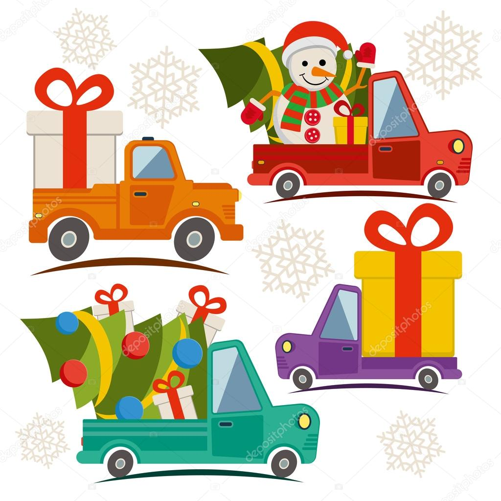 Christmas and New Year delivery vans