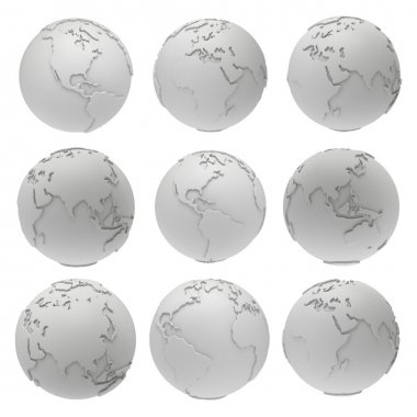 Set of 3D blank earth planet globe icons.