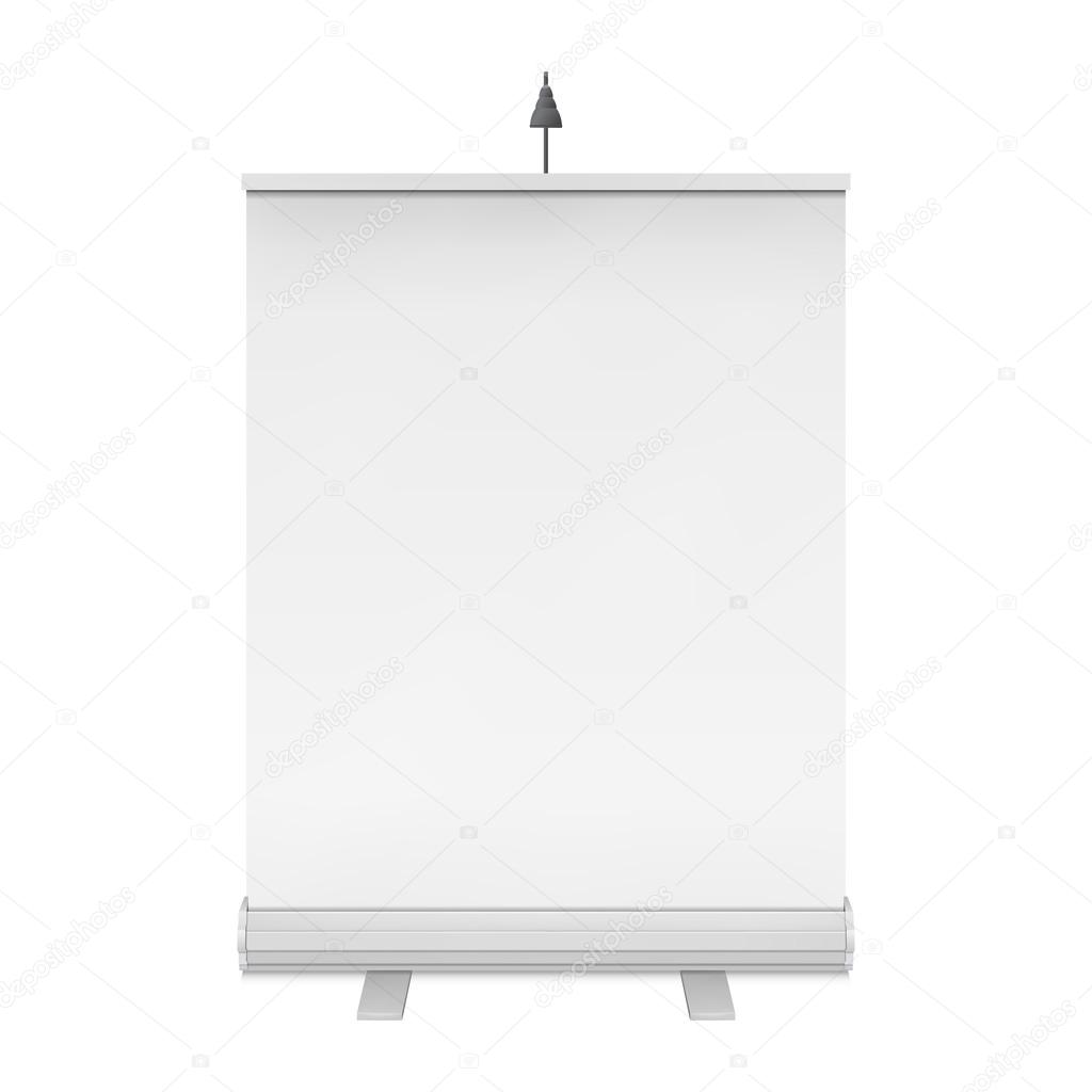 Blank roll up banner stand vector stock vector newb1 for Maquette stand