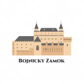 Bojnický zámek na Slovensku. Středověký hrad v Bojnici na Slovensku. Je to románský hrad s původní gotikou. Plochý kreslený styl historické památky showplace atrakce. Vektorová ilustrace