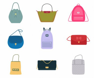 A set of women's bags, a fashionable bag with assortment color : handbag, back pack, tote bag, bucket. Trendy of different types isolated on white background. Flat design, vector illustration icon