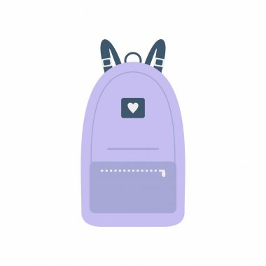 Vector color school backpacks. Cute stylish backpacks for schoolchildren, students, travellers and tourists. Back to School rucksack flat vector illustrations isolated on white background. icon