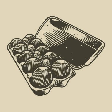 Vector detailed line art packed eggs hand drawn retro illustration. Vintage engraving sketch of egg box. Farm product minimalist concept. Vector illustration for menu or poster in retro style icon