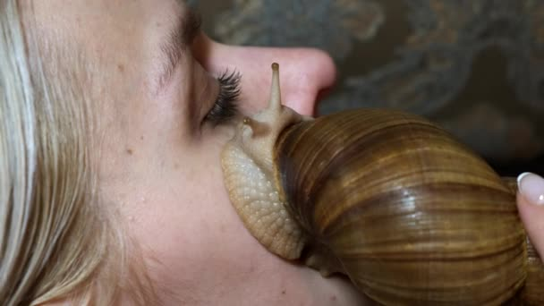 Young woman is treated at home using the giant Achatina snails. Close up.