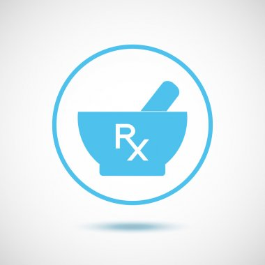 Rx and mortar and pestle - vector icon.