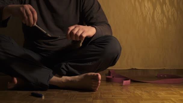 Drug Addict in a dark room