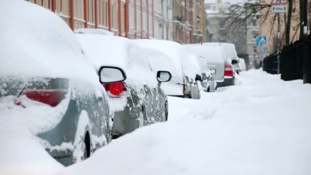 Parked car after snowfall