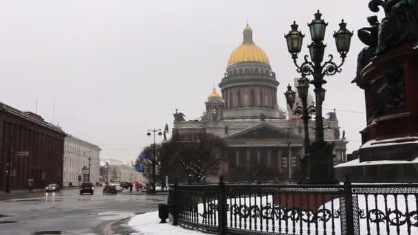 Panoramic of St. Isaacs Cathedral in snowfall, St Petersburg