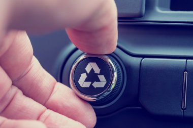Recycle icon on a piece of electronic equipment