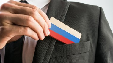 Wooden card painted as the Russian flag