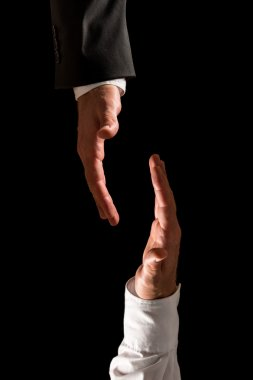Two Businessmen Hands From Top and Bottom Frames