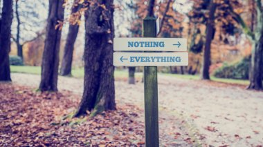Signboard with two signs saying - Nothing- Everything - pointing