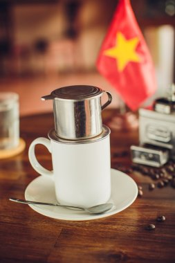 Vietnamese coffee on the table with the flag