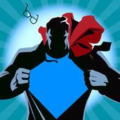 Superman tépte az ingét. Vektoros illusztráció. Sziluettjét