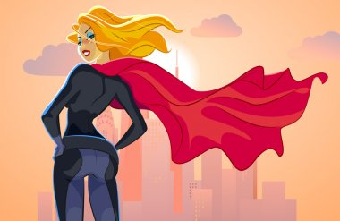 Super hero woman looks at an evening city landscape
