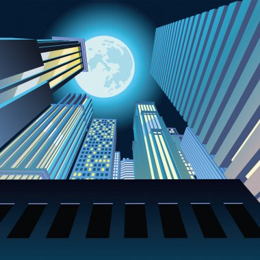 Night city. Skyscrapers under the moon