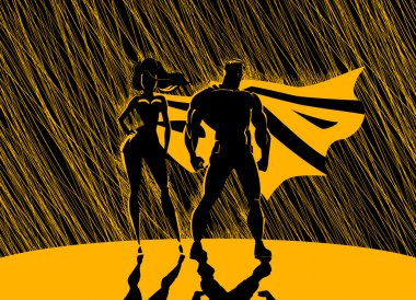 Superhero Couple: Male and female superheroes, posing in front o