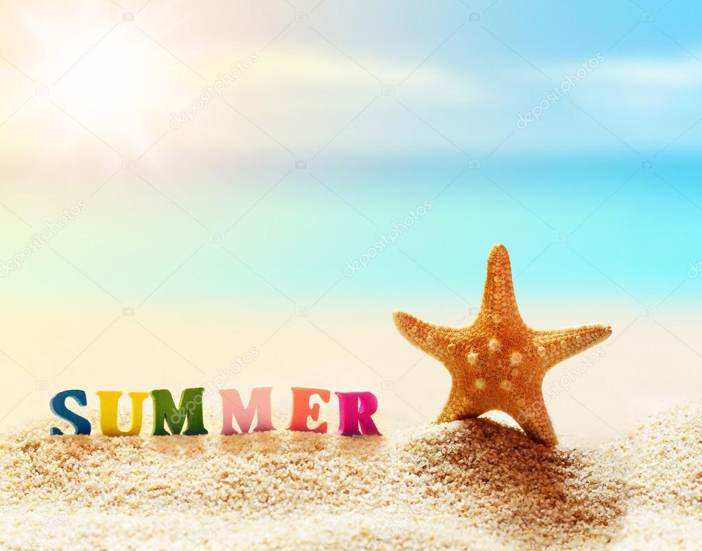Word of color letters on summer beach and starfish — Stock Photo ...