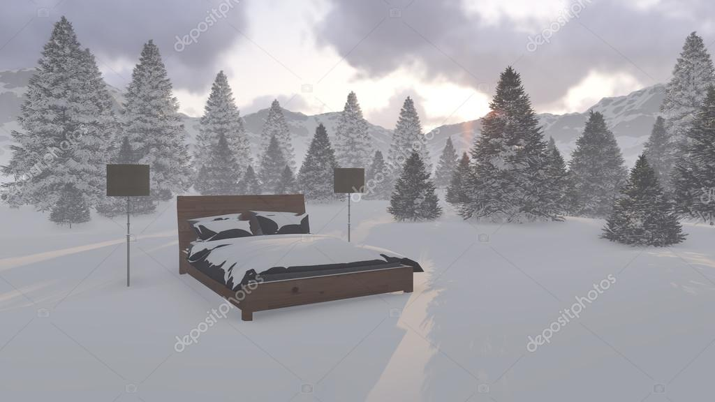 Bed covered with snow surrounded