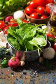 verdure biologiche fresche e spezie su uno sfondo scuro
