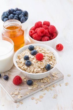 Food for a healthy breakfast, vertical, top view