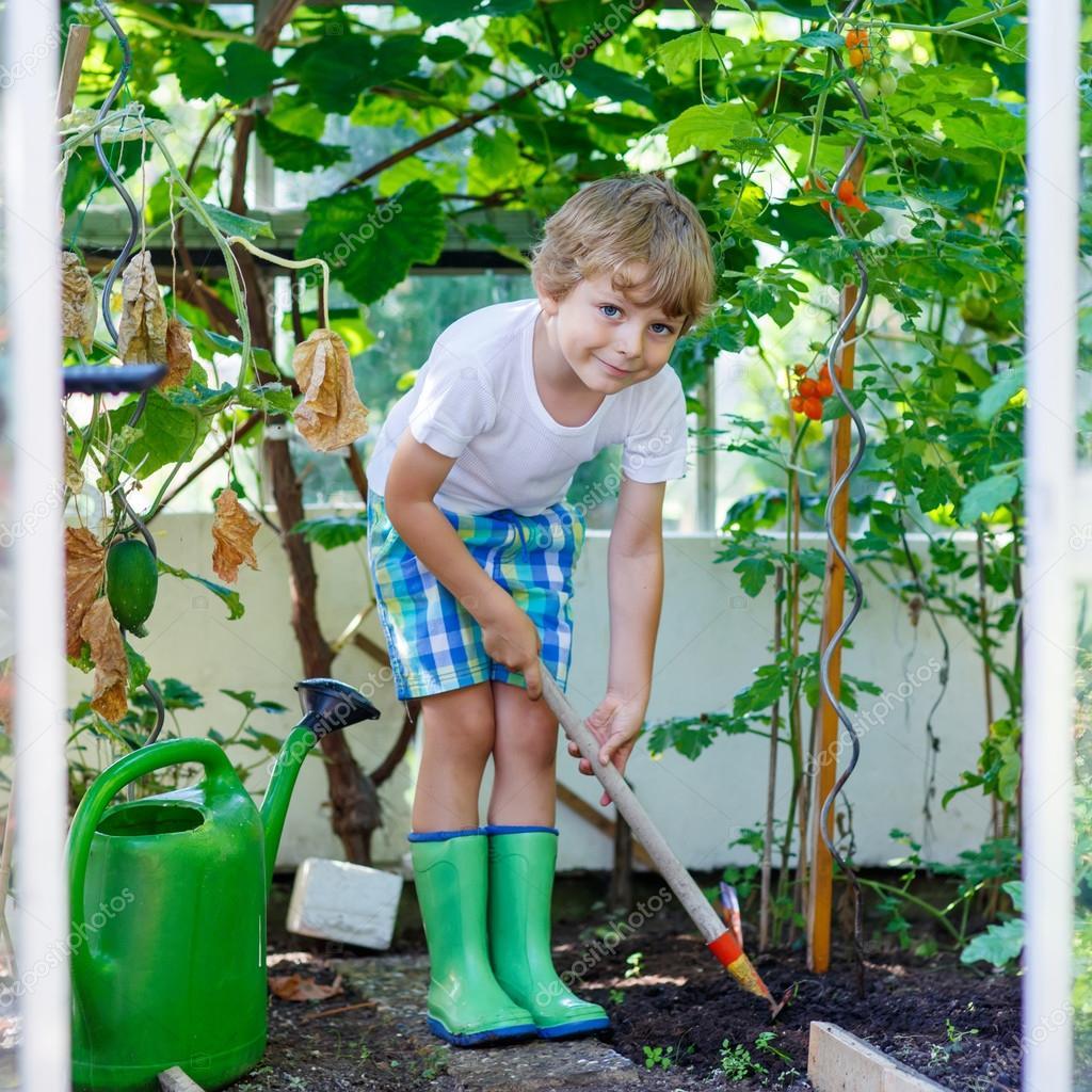 little kid boy working with garden hoe in greenhouse — Stock Photo ...