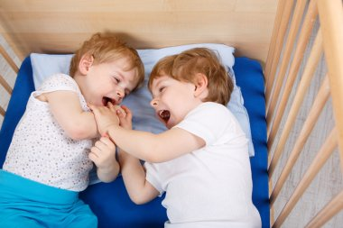 Two little toddler boys having fun and fighting