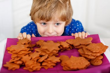 Little kid boy baking Christmas cookies at home