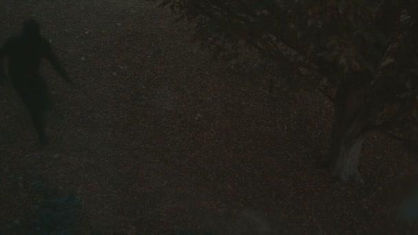 árnyékfigura fut az udvaron