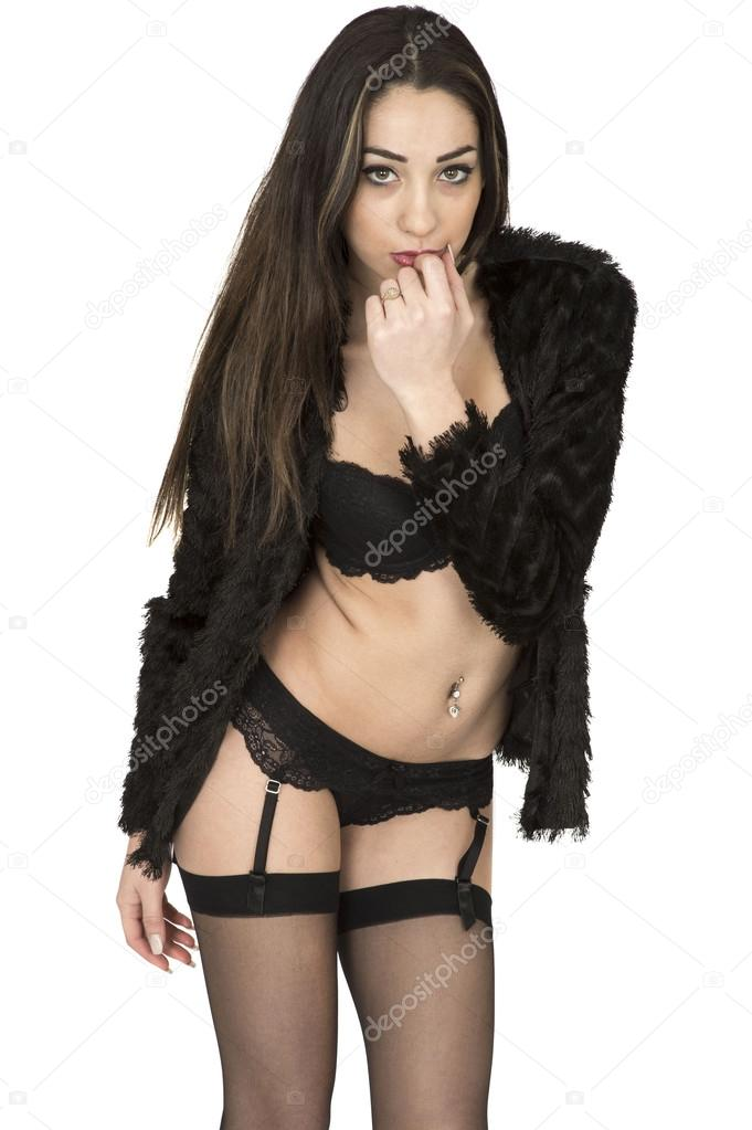 74aadced5d9 Attractive Young Woman In Pin Up Poses Wearing Black Lingerie and Stockings  Against A Plain White Background — Foto de ...