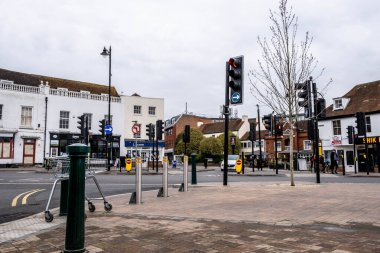 Epsom Surrey London UK, March 31 2021, Road Junction Wiuth Traffic Lights Quiet During Covid-19 Coronavirus Lockdown
