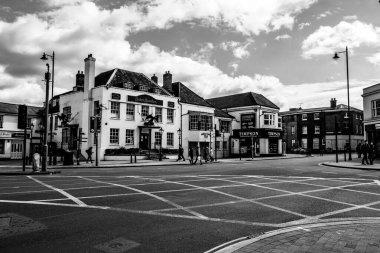 Epsom Surrey, London UK, April 5 2021, Major Road Junction Yellow Box With No Traffic During Covid-19 Coronavirus Lockdown
