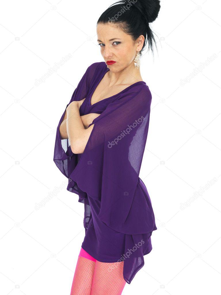 Hermosa joven con vestido de fiesta corto — Foto de stock ...