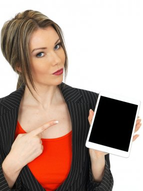 Young Business Woman Holding a Tablet