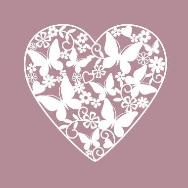 Heart from flowers and butterflies clip art vector