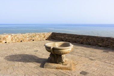 Sicily, Cefalu, terrace overlooking the sea