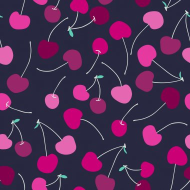 Seamless pattern with cherries