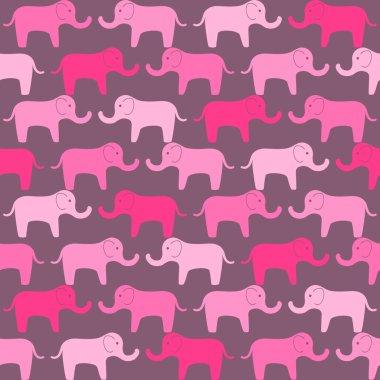 Pink elephants pattern