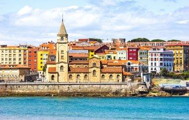 San Pedro church and San Lorenzo beach, Gijon, Asturias, Spain stock vector