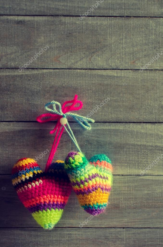 Knitted Hearts Of Different Colors Stock Photo Shusha 95557370