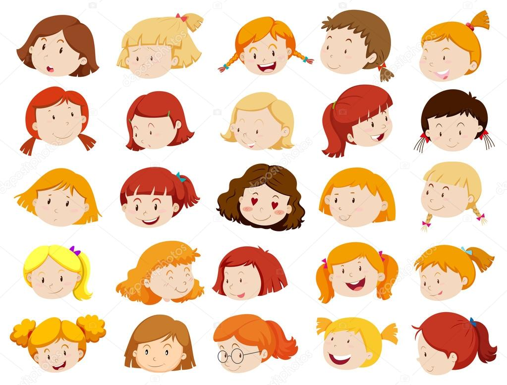 Para Niños De Dibujos Animados Caras Diferentes: Imágenes: Rostros De Diferentes Emociones