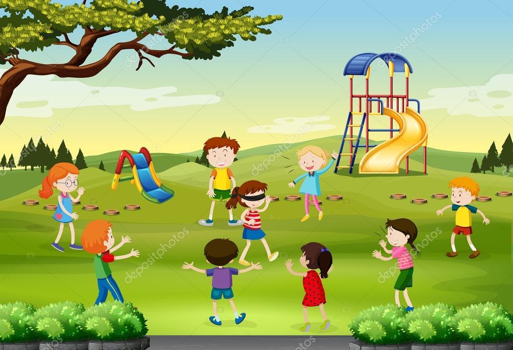 Crianças Se Divertindo No Parque: Crianças Brincando Cego Dobrado No Parque