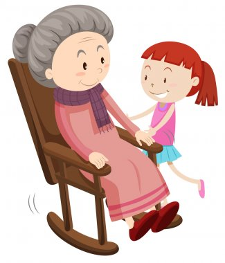 Grandmother on the rocking chair and girl