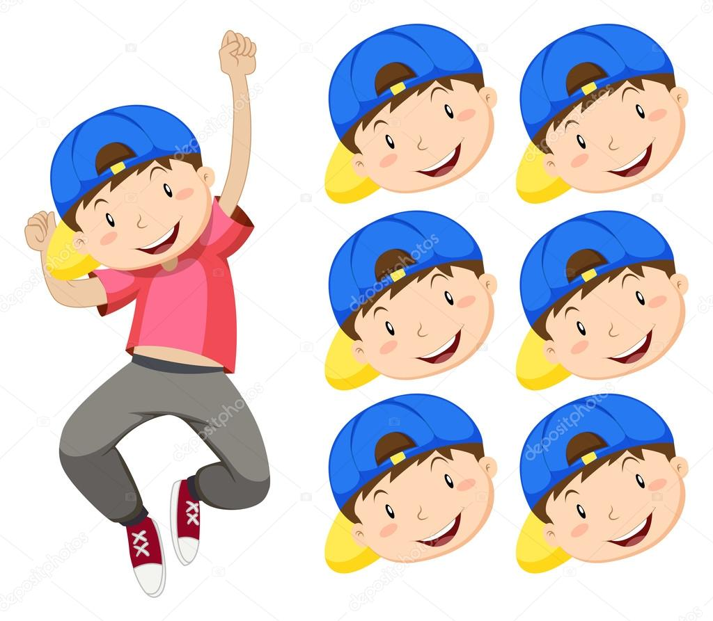 Boy With Blue Cap And Many Expression Faces Stock Vector